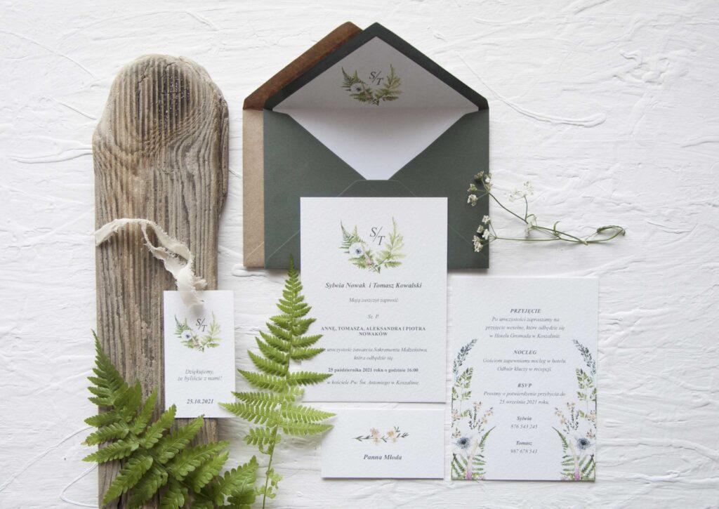 Zaproszenia ślubne - kolekcja Paproć