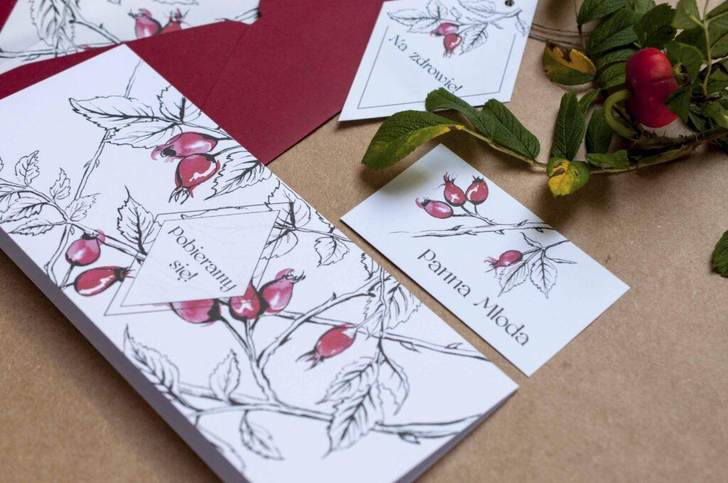 Zaproszenia ślubne - kolekcja Dzika Róża
