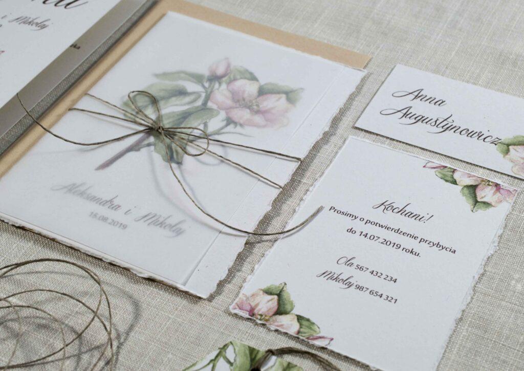 Zaproszenia ślubne - kolekcja Kwiat Pigwy