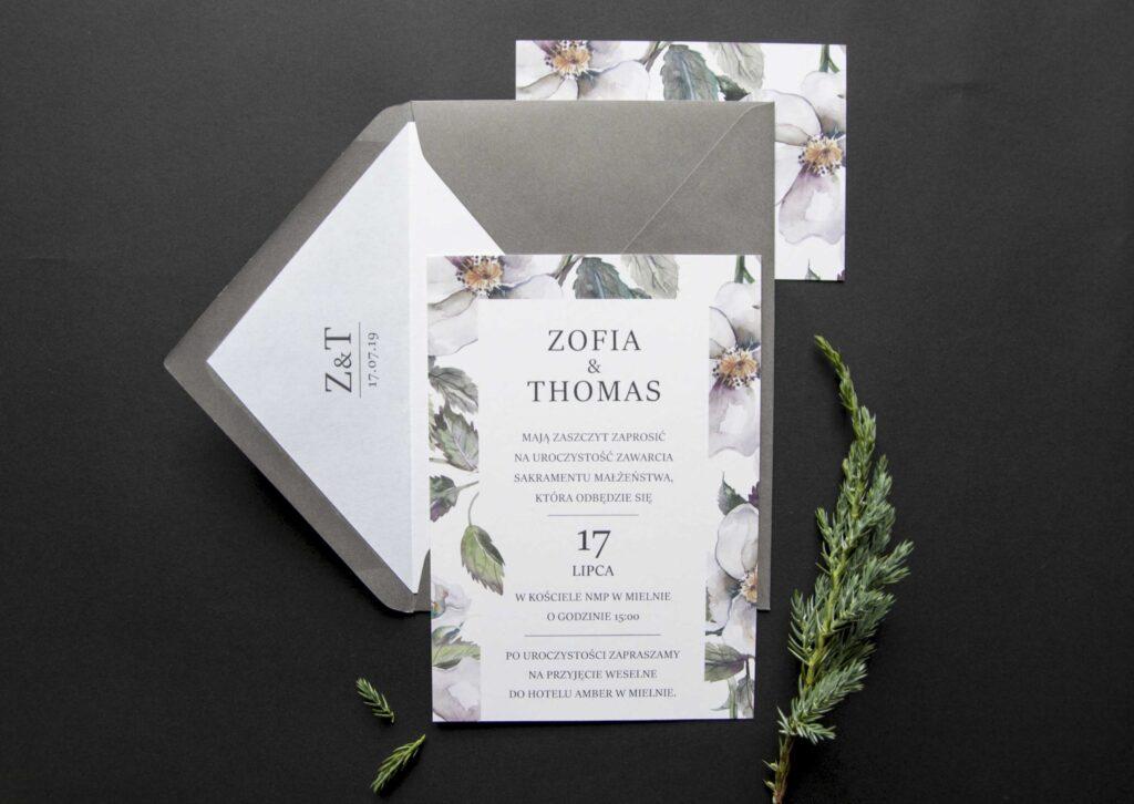 Zaproszenia ślubne - kolekcja Biała Dama