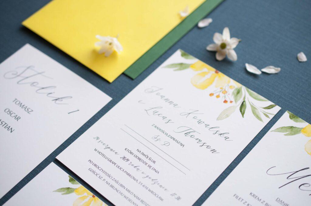 Zaproszenia ślubne - kolekcja Yellow Lady