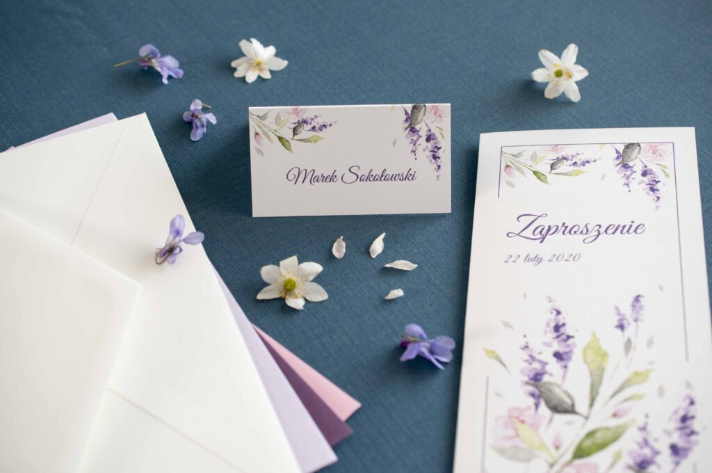 Zaproszenia ślubne - kolekcja Lawenda