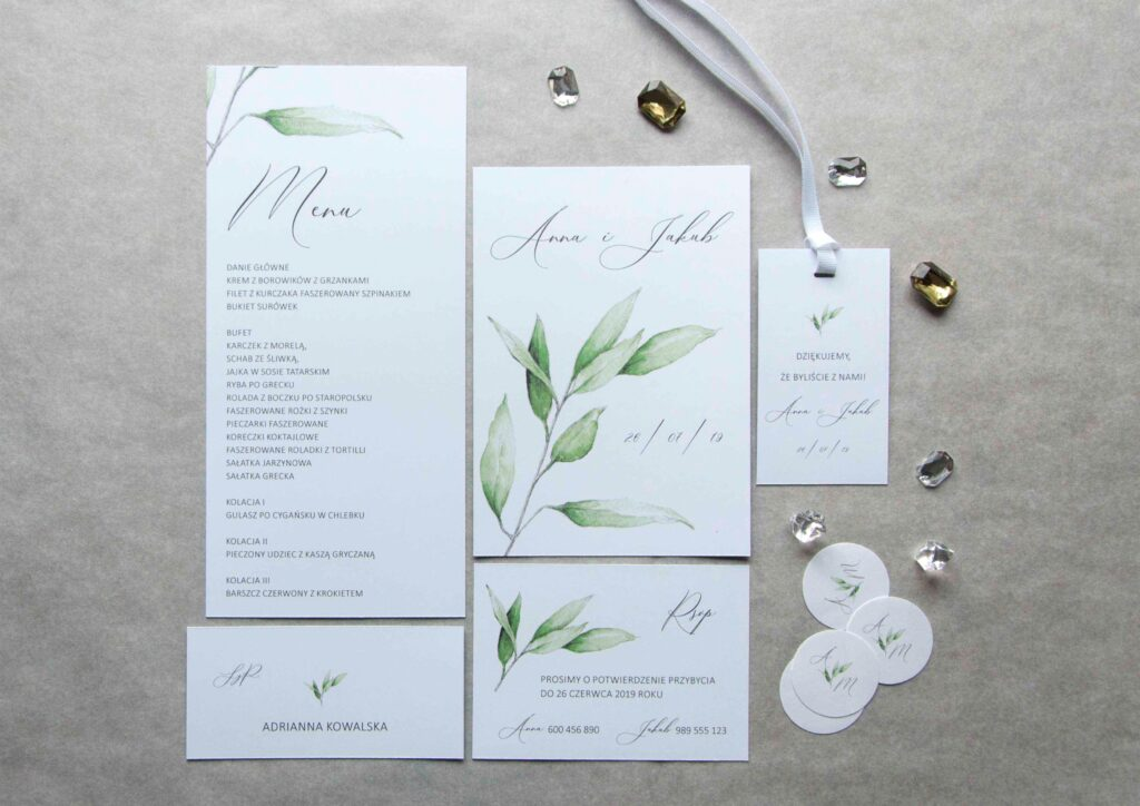 Zaproszenia ślubne - kolekcja Eukaliptus